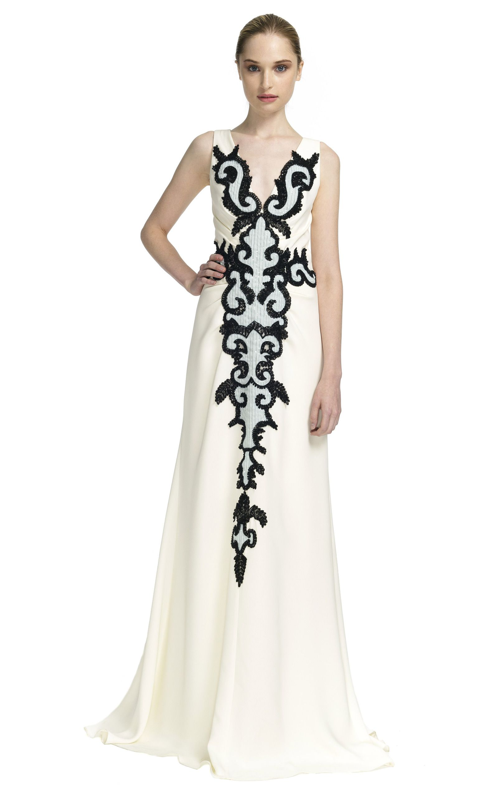 Ivory Crinkle Chiffon V Neck Gown With Black And Seafoam Embroidery by CAROLINA HERRERA for Preorder on Moda Operandi