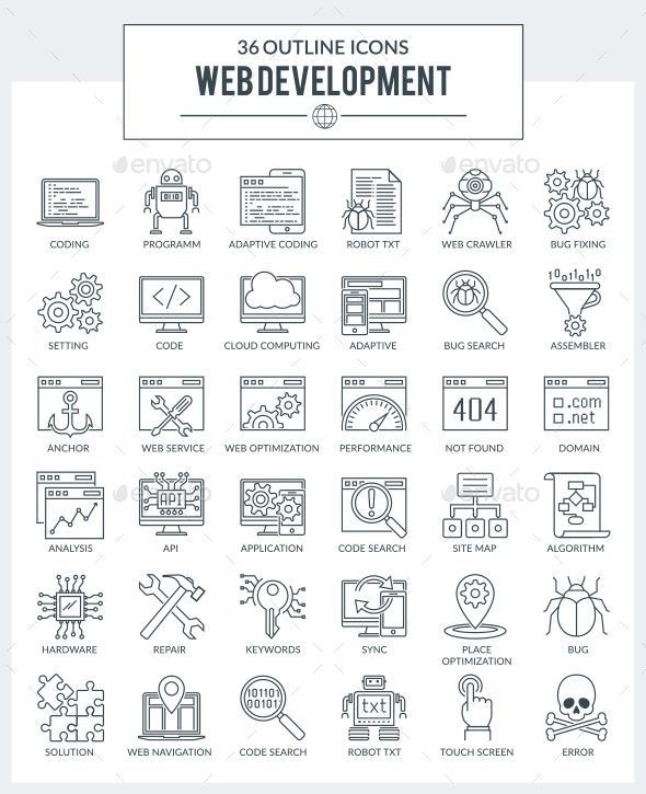 Outline Icons Web Development And Programming Web Design Websites Web Design Icon Web Design
