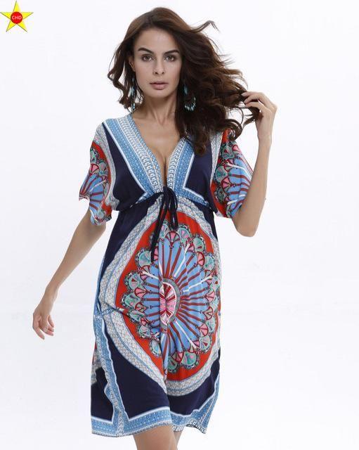 8b3cd2b229fcd Boho Style Summer Women Dress Sexy Sundresses Deep V Ethnic Floral ...