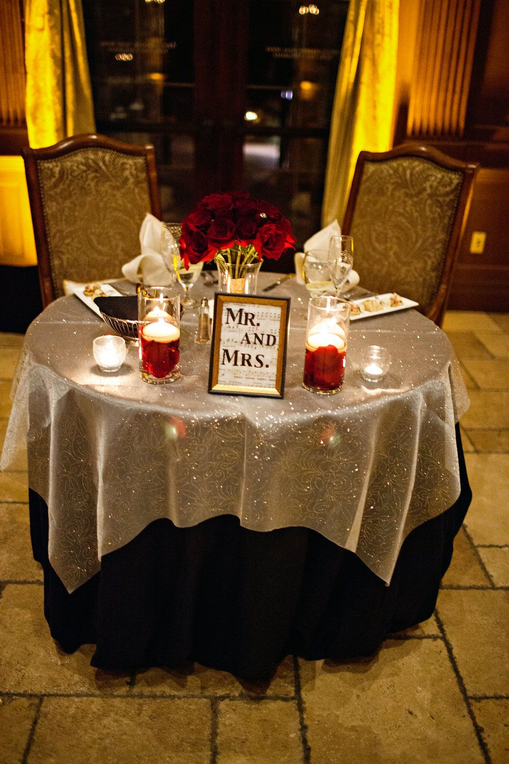 Sparkly Silver And Black Linens With Red Roses And A Mr Mrs