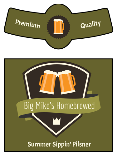 photograph regarding Printable Beer Labels called Basic beer bottle label template + neck design and style Beer