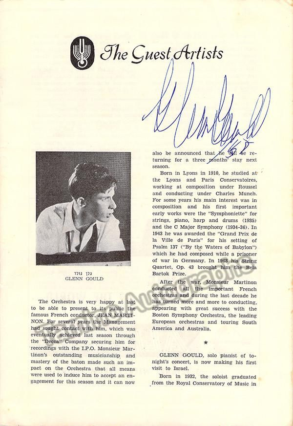 Star Canadian Pianist 1932 1982 One Of The Greatest Interpreters Of Bach Of The 20th Century Signed Concert Program During His First Vi Gould Photo Pianist