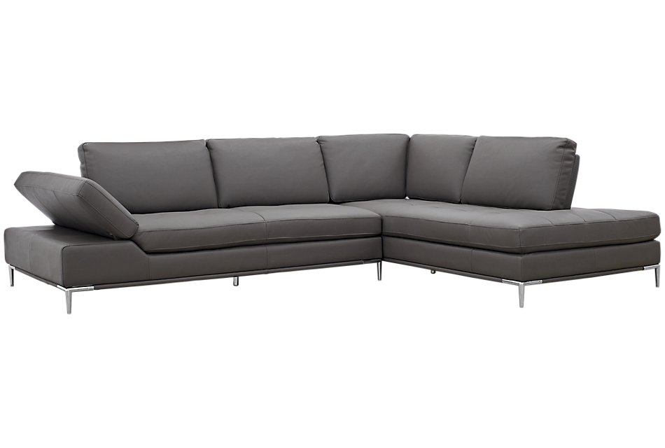 Camden Dark Gray Micro Right Chaise Sectional Living Room Sectional Sectional Chaise