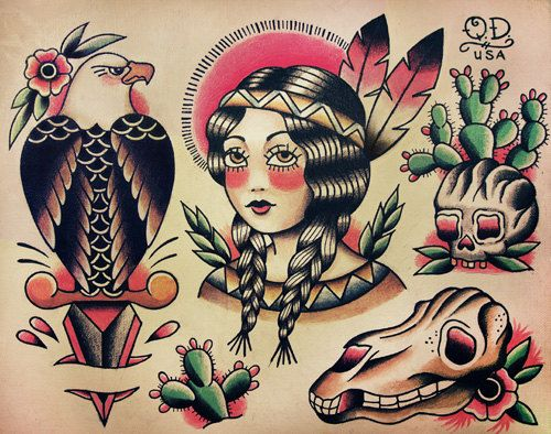 096e240c1 Native Indian Theme Traditional Tattoo Designs on Etsy, $20.00