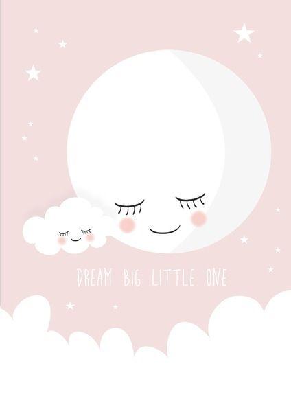 poster dream big little one roze a4. met deze lieve maan poster, Deco ideeën