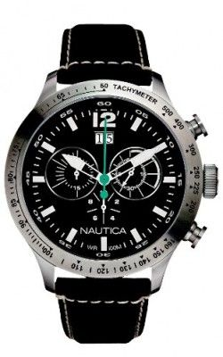 7928112828a Relógio Nautica Men s N19560G BFD 101 Chronograph Black Dial Black Leather  Watch  relogio  Nautica