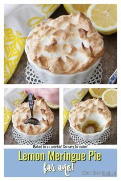 Meringue Pie For One baked in a ramekin. This single serving Lemon Meringue Pie has a big fluffy toasted meringue topping, a perfectly balanced sweet and tart lemon filling and a crisp graham cracker crust. Easy to make and the perfect size for anyone cooking for one. | One Dish Kitchen |