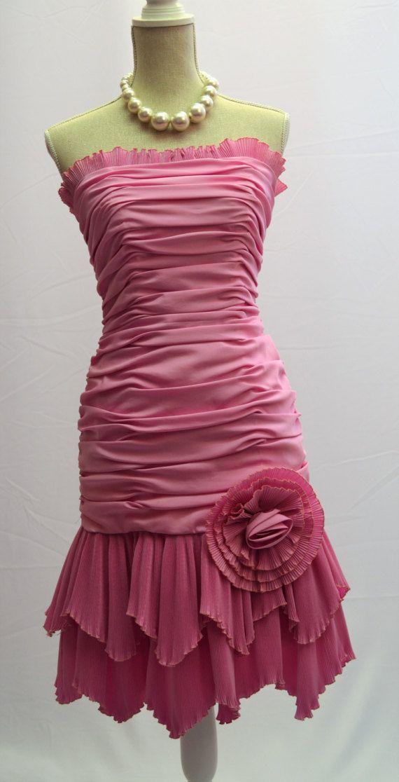 80er Jahre Designer John Charles Partei trägerlosen Kleid in | Etsy ...
