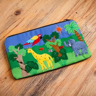Applique cosmetic bag, 'Jungle Friends' - Cotton Applique Folk Art Cosmetic Bag (image 2)