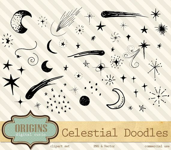 Celestial Doodles Clipart, digital hand drawn sketched moon and