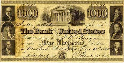 United States One Thousand Dollar Bill Thousand Dollar Bill Money Notes Paper Currency