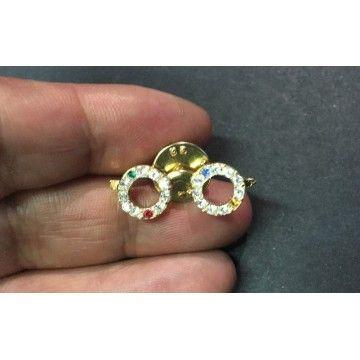 Broche en strass en forme de lunette en doré en pin s , à clipser, pour  décorations. 2f5e3d9a4b91