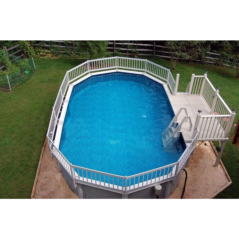 The Vinyl Works Deluxe 24 In In Pool Step For Above Ground Pools In Taupe Ne1160t The Home Depot Cool Swimming Pools Pool Steps Swimming Pool Decks