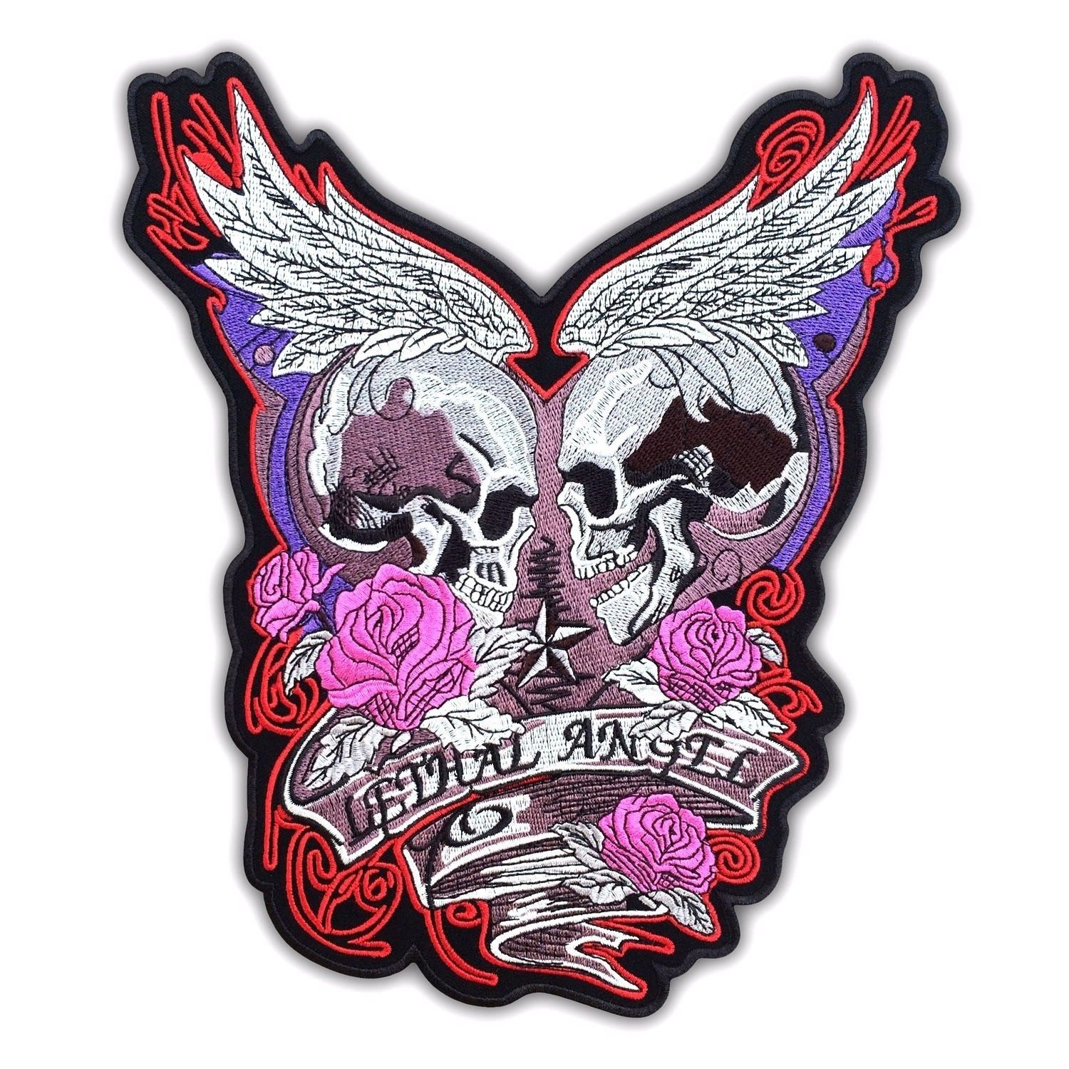 LETHAL ANGEL SKULL WINGS PINK ROSES TATTOO FLASH TANK TOP 10 12 16 S-2XL