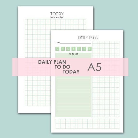 Daily Planner Printable Day Plan Printable By Aquarelledesign