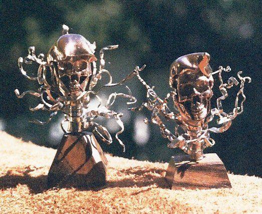 Floating Skulls, brass, bronze, nickel, copper.