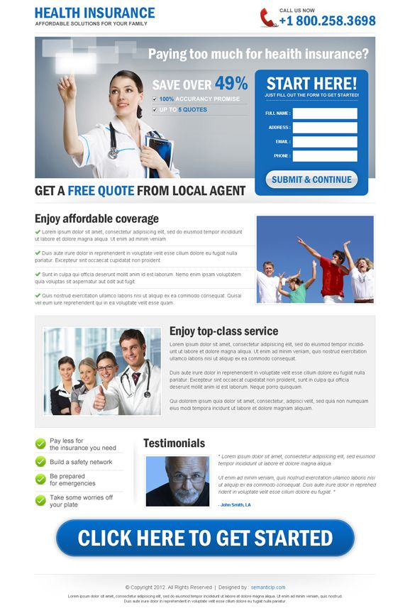 Insurance Landing Page Design For Health Insurance Life Insurance