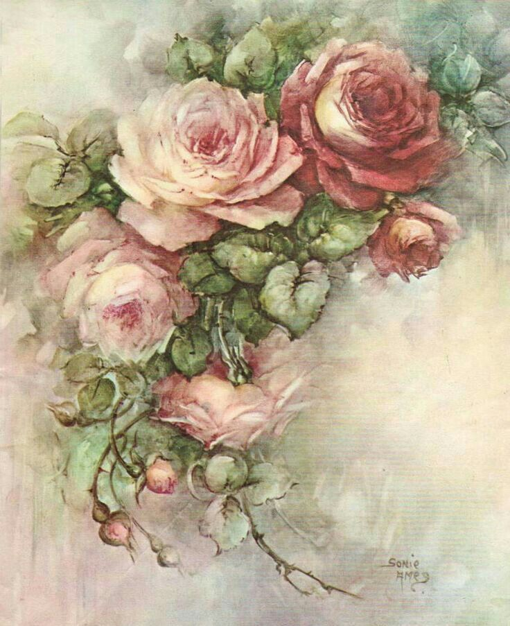 Victorian Clip Art Flower Painting