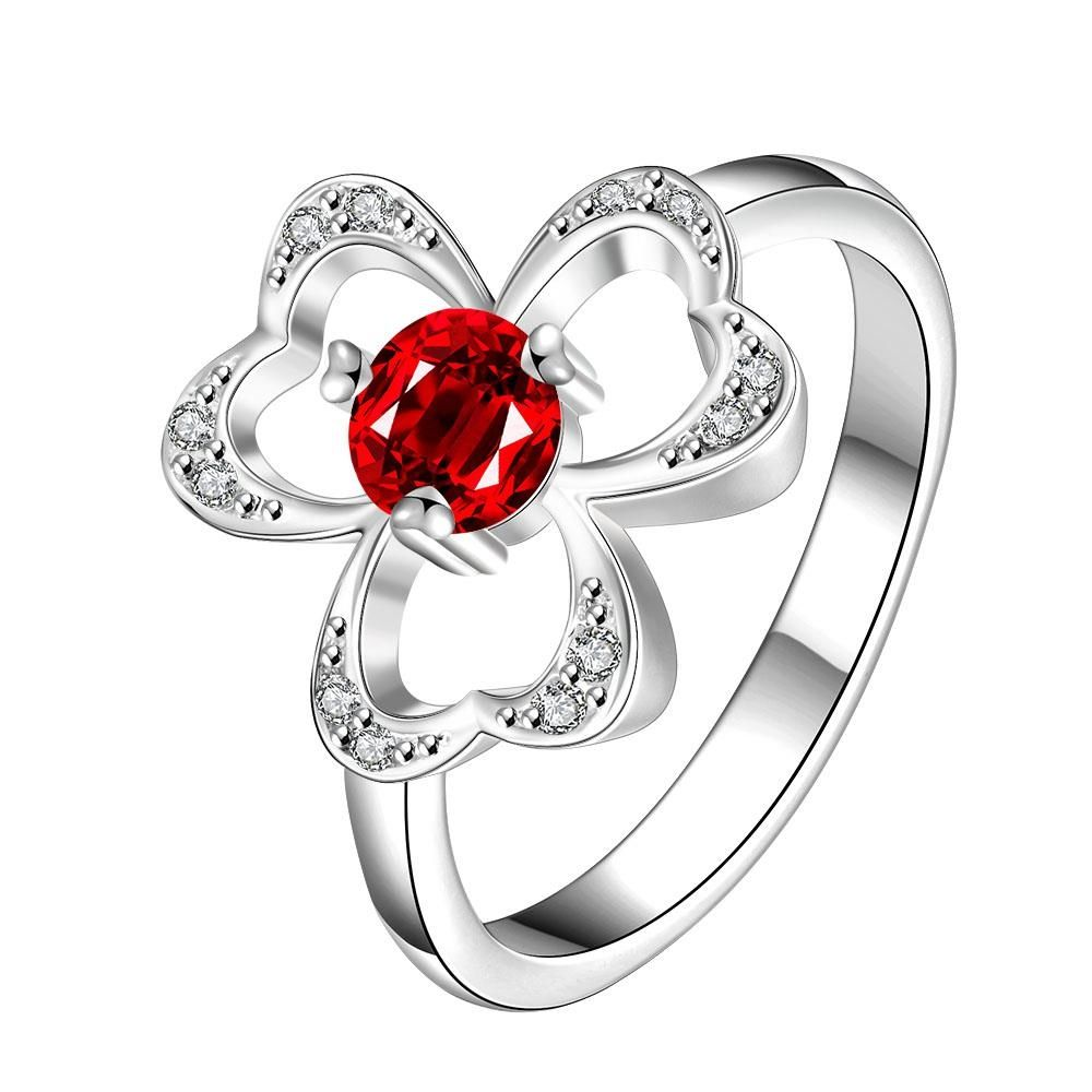 Vienna Jewelry TrioClover Stud Ruby Red Petite Ring Women