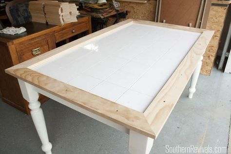 Tile Top Table Makeover Updating A Tile Top Table With Wood Part 1 Southern Revivals In 2020 Diy Table Top Diy Kitchen Table Tile Top Tables