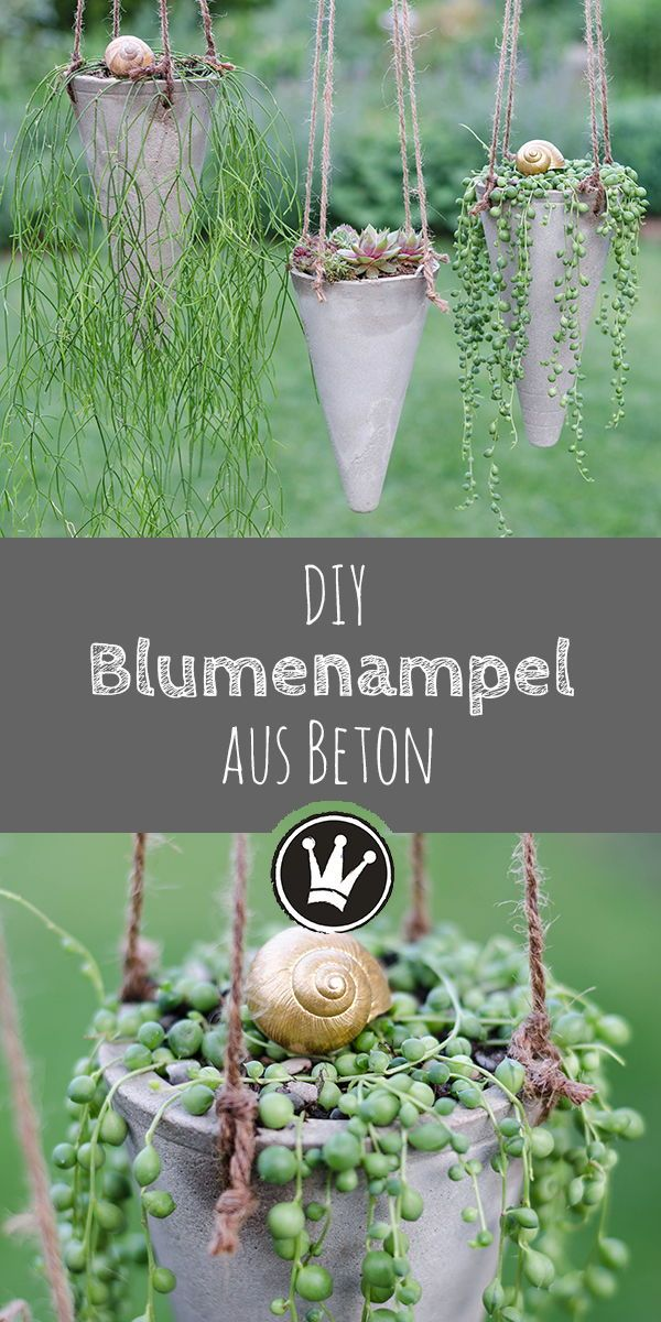 Blumenampel aus Beton - die Anleitung für dieses DIY gibt es auf dekoideenreich.de Mit Hilfe von einfachen Plastikkegeln aus dem Sportbedarf habe ich diese stylische Blumenampel gemacht.
