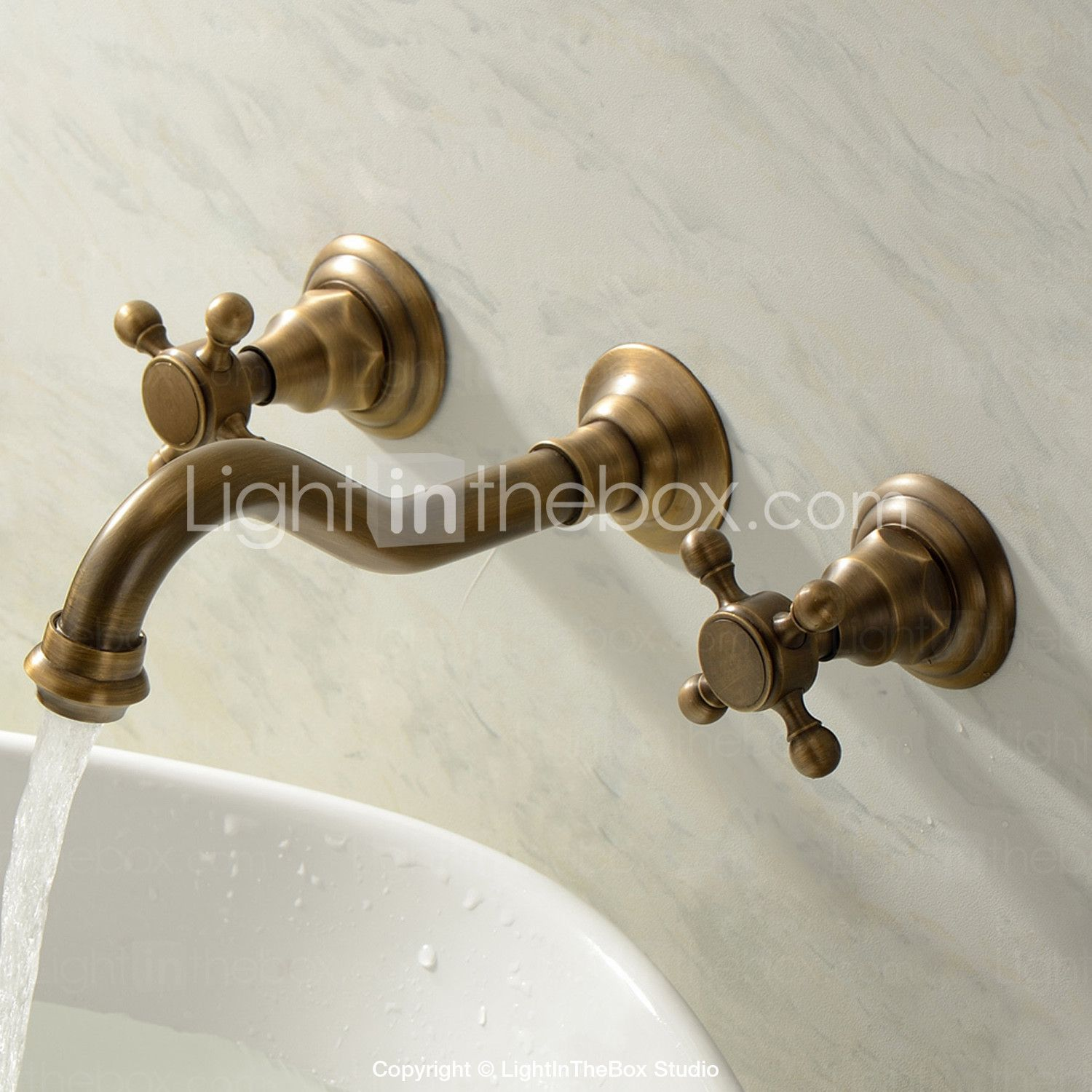 Wall Mounted Two Handles Three Holes In Antique Brass Bathroom Sink Faucet 00071477 Sink Faucets Bathroom Sink Wall Faucet