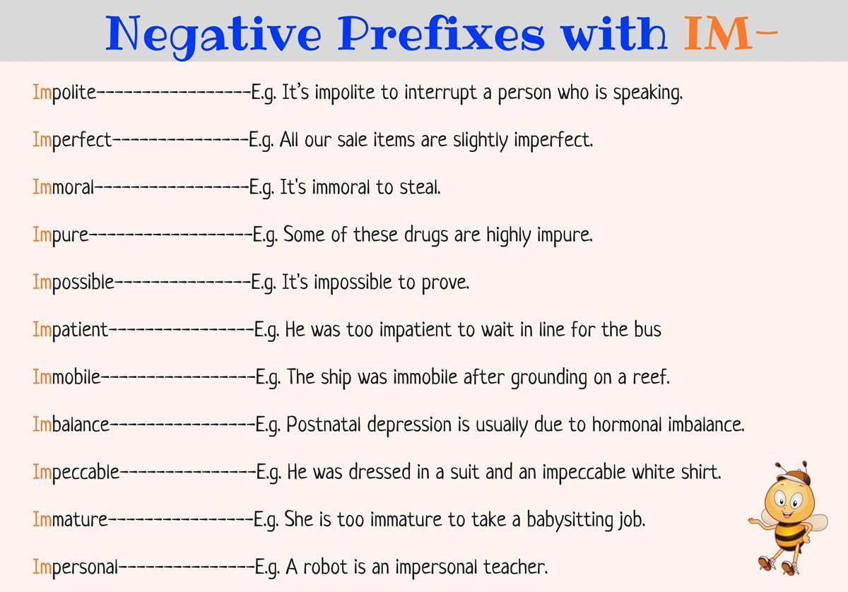 Prefixes In Im Il Ir Exercises