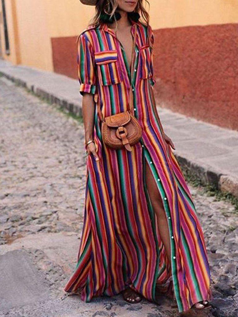 Buttoned casual short sleeve plus size maxi dress moda pinterest