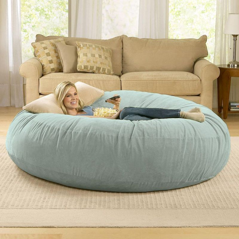 Giant Bean Bag Chair Lounger   What A Fun Thing For A Basement Or, More  Importantly   What A Great Dog Bed This Would Be!