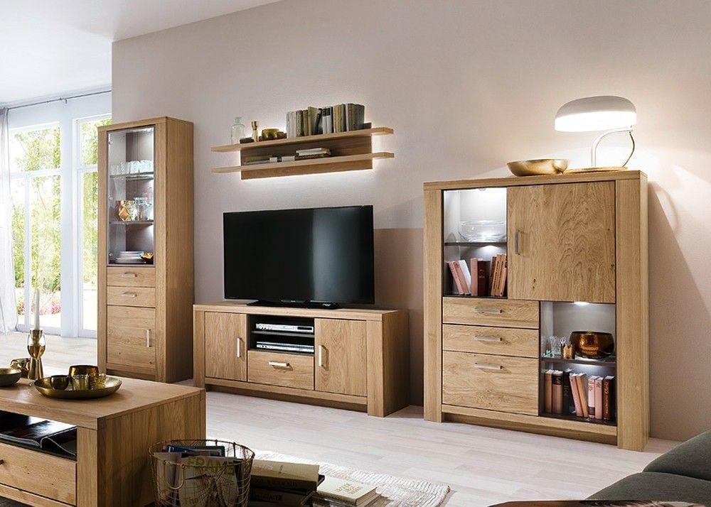 Wohnwand Prato Wohnzimmerschrank Eiche Bianco mit Taupe 20660 Buy