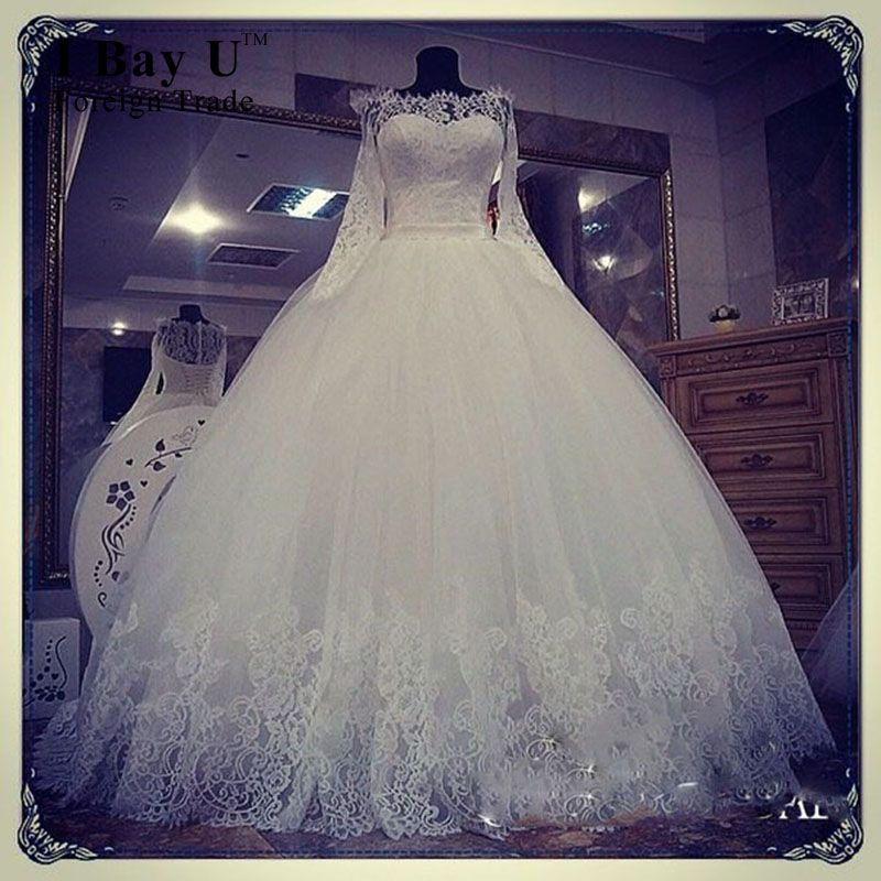 Click to Buy << TCMW087 Soft Tulle Lace Wedding Gowns Long Seeve ...