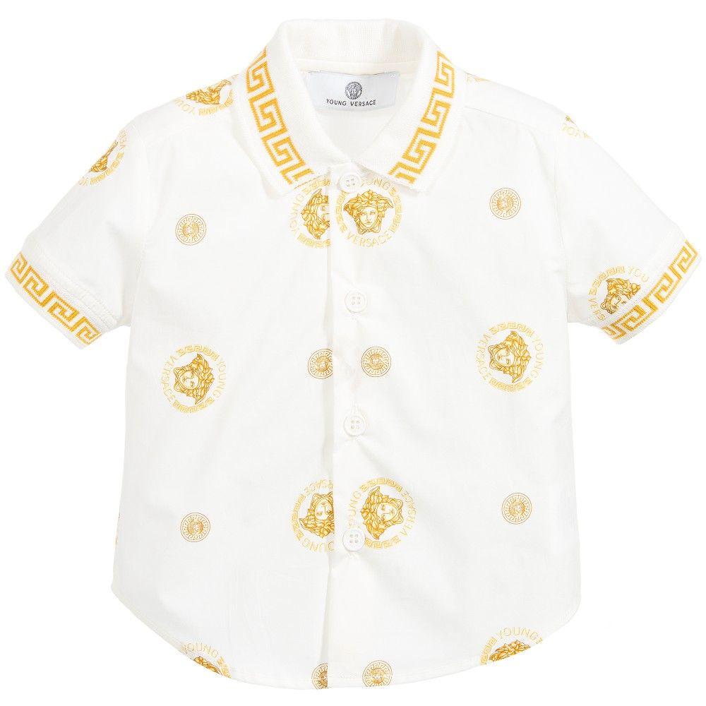 3bebf70e61ec Baby Boys Gold   White Medusa Cotton Shirt