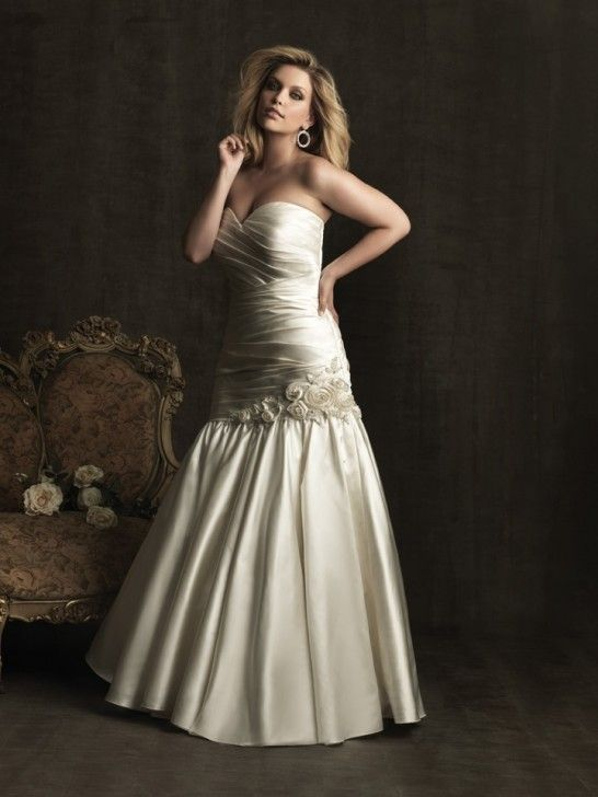 TAFFETA SWEETHEART MERMAID WEDDING DRESS WITH A CRYSTAL AND FLORAL EMBELLISHMEN AW291