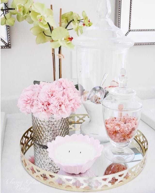 Guest Ready Styling Ideas For Your Bathroom Counter Apartment Bathroom French Country Bathroom Bathroom Counter Decor