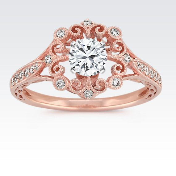 ShaneCo - Vintage Round Diamond Engagement Ring in 14k Rose Gold