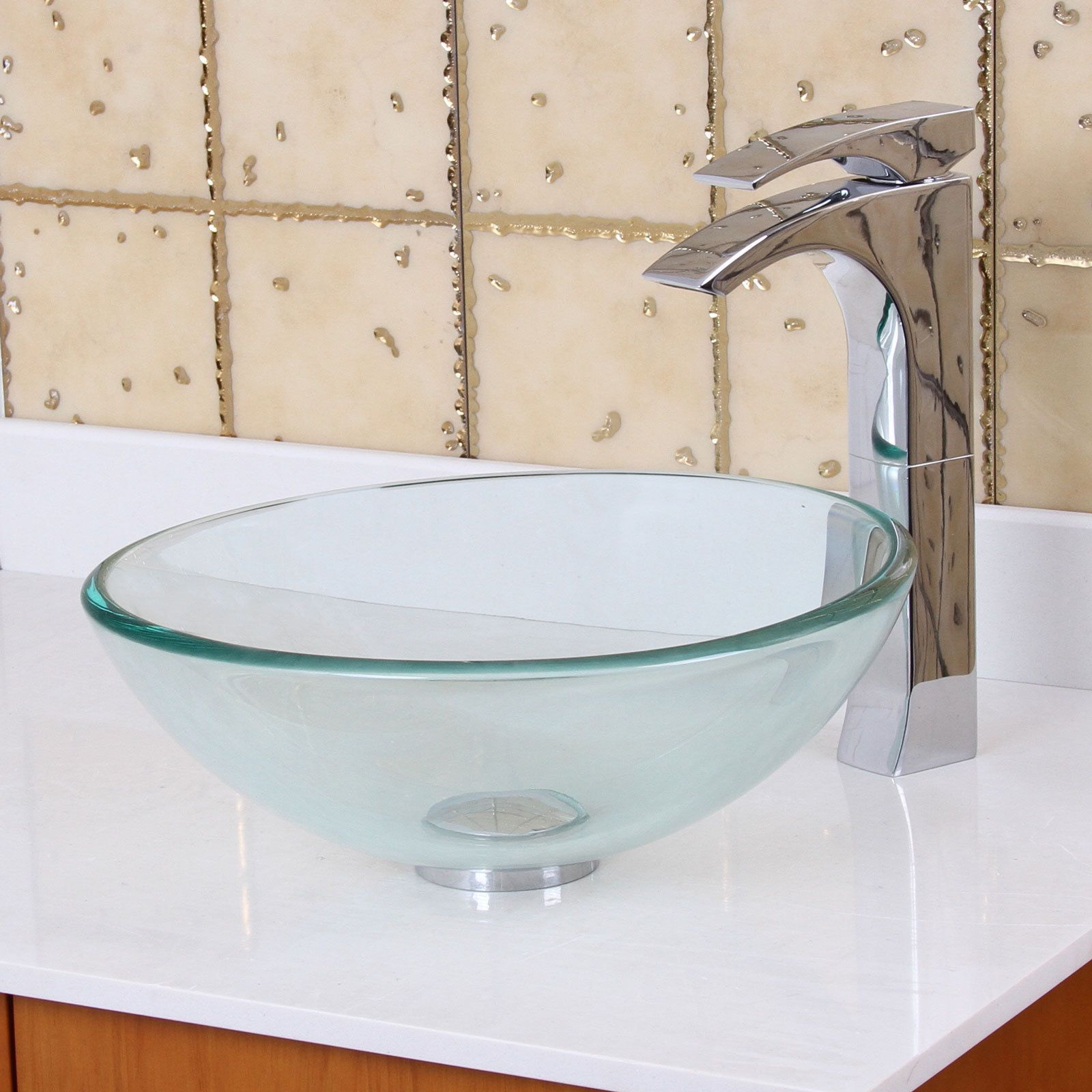 Elite Gd05S Small Clear Tempered Glass Bathroom Vessel Sink Amusing Small Bathroom Vessel Sink Inspiration