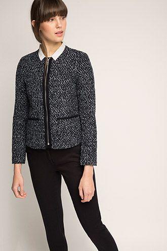 Bouclé Jacke bzw. Blazer mit Zipper   Jacken, Tweed jacken
