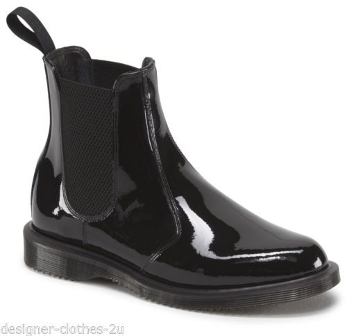 Dr Doc Martens Womens Faun Black Patent Leather Chelsea Dealer Ankle Boots Boots Womens Boots Leather Ankle Boots