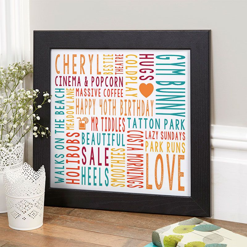 40th Birthday Gift For Her Personalised Square Word Art