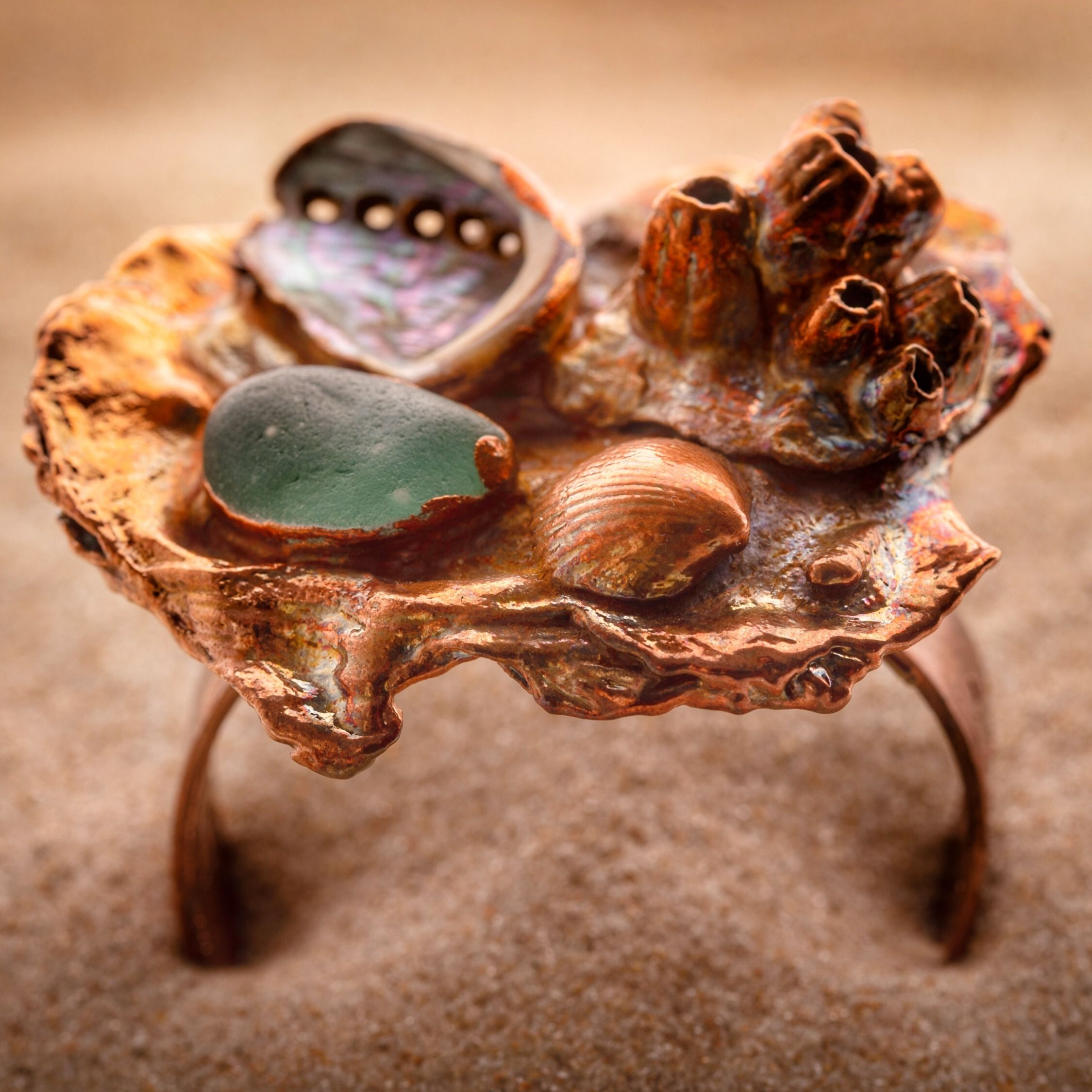 Shell Ring Electroformed Oyster Shell Rings Tide Pool Nature Inspired Organic Ocean Jewelry Seashell Sea Glass Statement Ring
