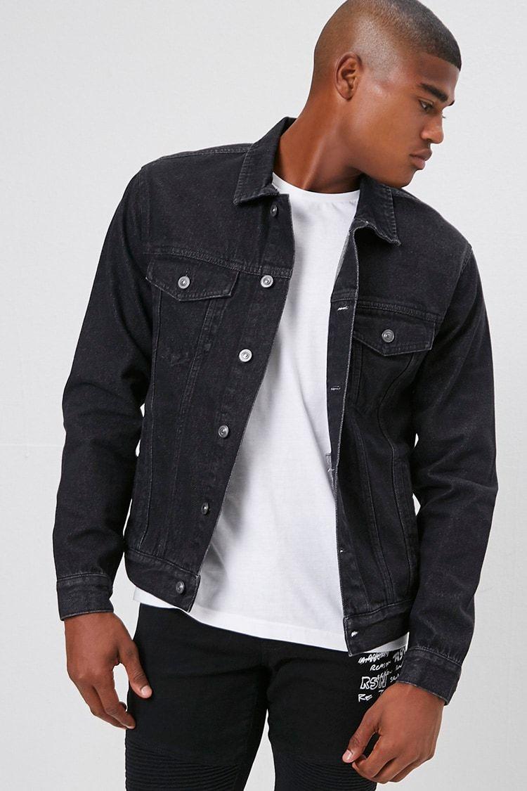 Button Down Denim Jacket Forever 21 Black Denim Jacket Men Mens Outfits Mens Casual Outfits [ 1125 x 750 Pixel ]