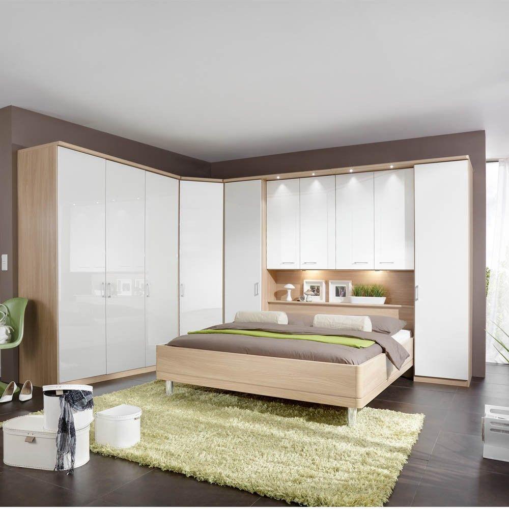 Modern white high gloss with oak doors  White gloss bedroom