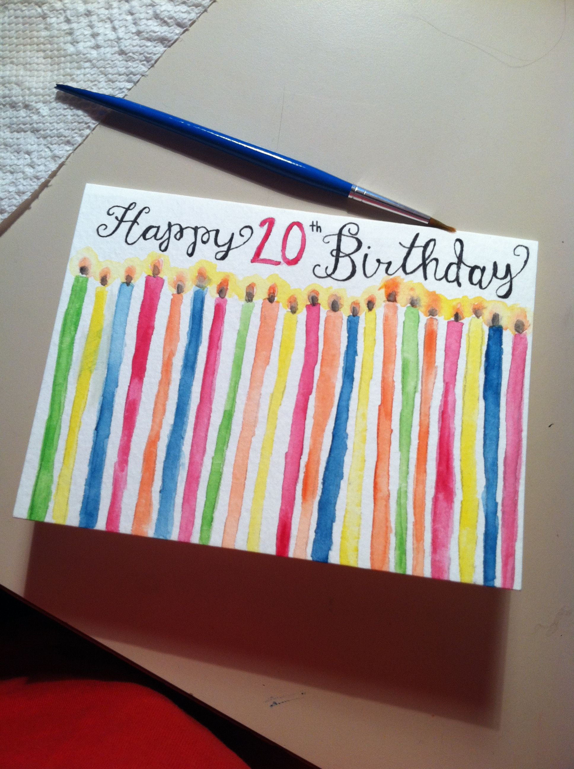 Hand Painted Water Color Birthday Card Candles 20 Years Old