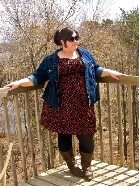 Plus Size Jean Jacket Over Print Dress With Black Tights