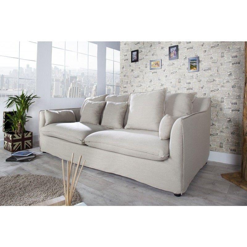 Moderne Sofa bank 3 zits heaven beige linnen 22688 heavens and beige