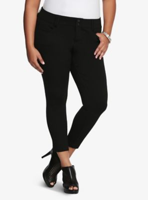 9cf4e0468b7 Mid-Rise Straight Leg Cropped Trouser Pant All-Nighter Ponte in Black