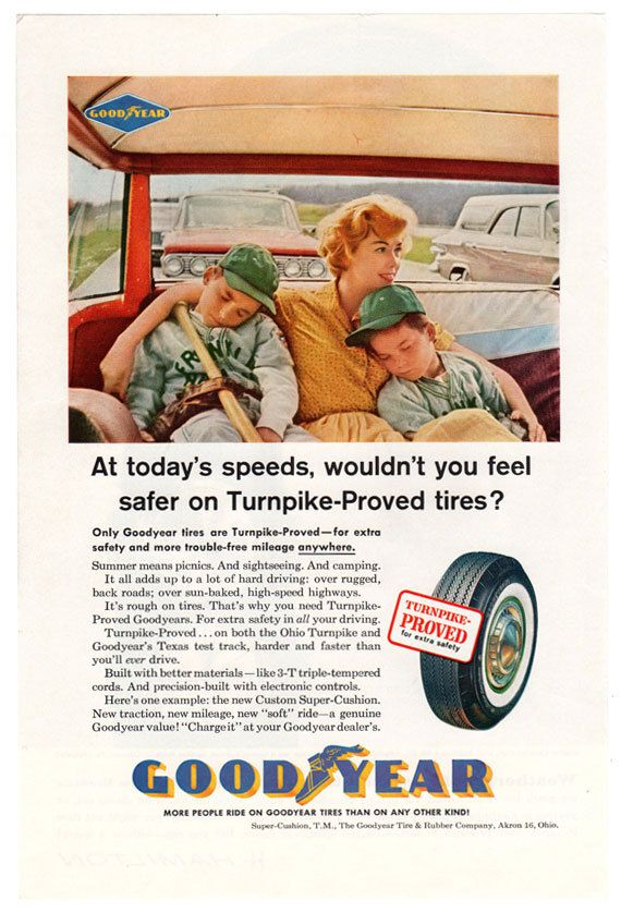Goodyear Tire Ad Turnpikeproved Advertising Art By Tennatats 6 99 Goodyear Tires Goodyear Summer Road Trip