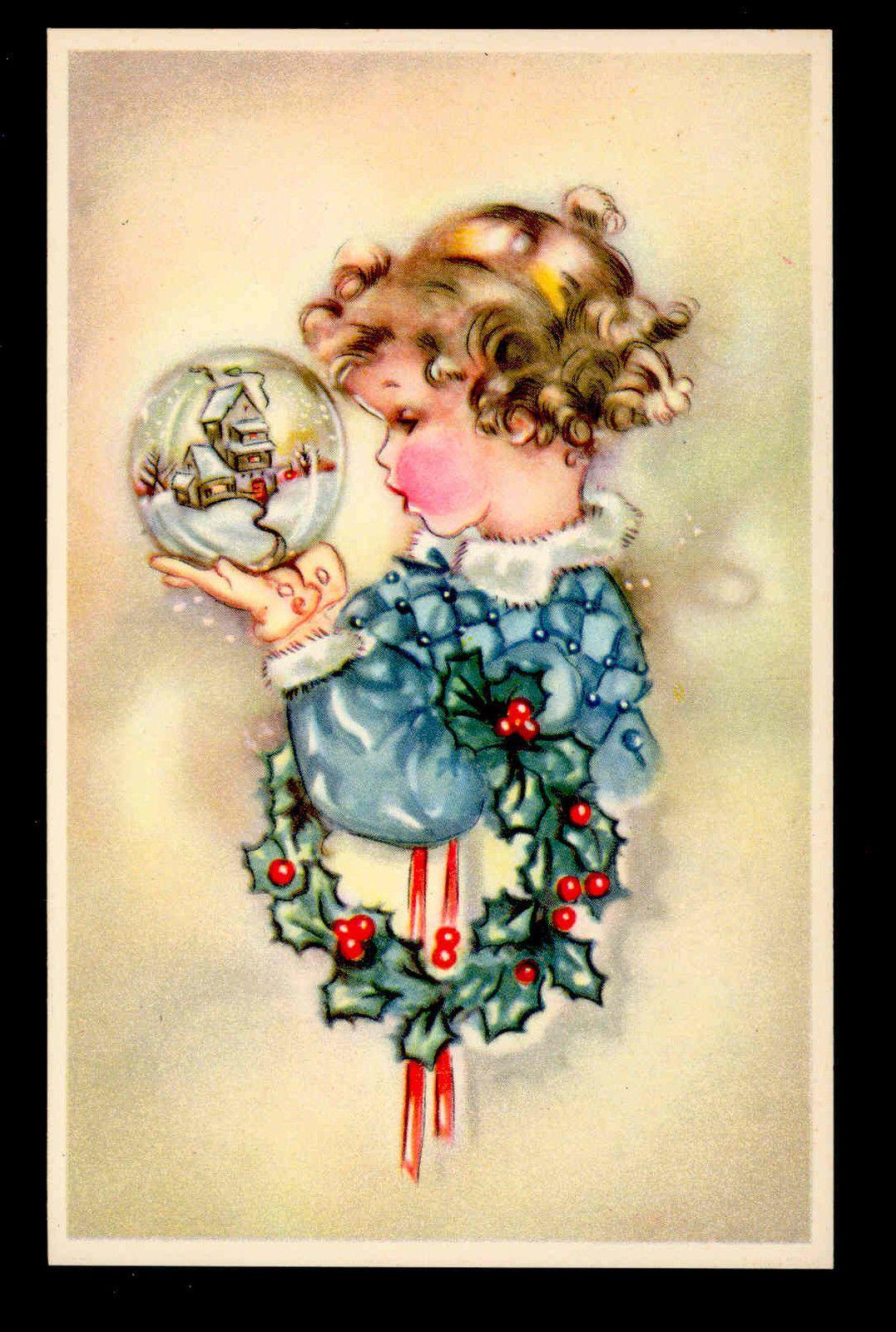 Wreath from old christmas cards - Mint Girl Gazes Into Snow Globe Christmas Holly Wreath Ballin Old Postcard Ebay