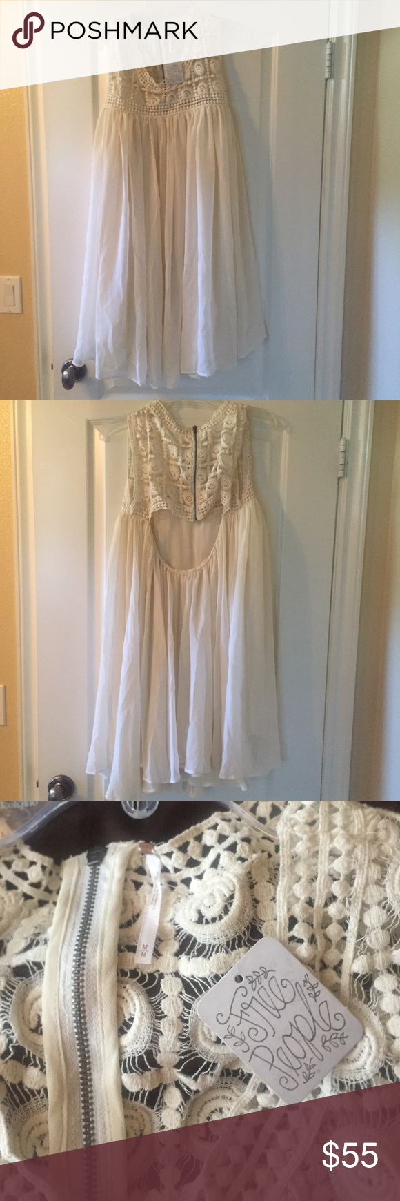 Free people BOHO off-white lace/tool flowy dress NWT!!!!! Never before worn. In perfect condition! This gorgeous, flowy white free people dress is perfect for the summer time. It is so light weight and effortless. Wear it with a pair of gladiators for an effortless look, of pair it with strappy heels to dress it up and look chic. A little bit of an open back; so flattering and perfect for any occasion! Free People Dresses Asymmetrical