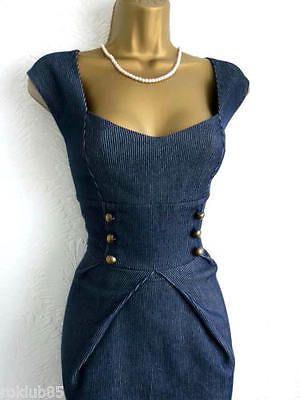 Jane Norman Navy Military Dress Size 12 10